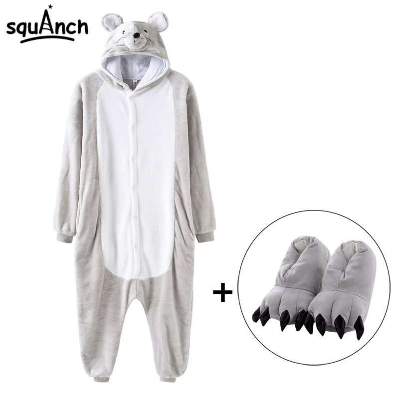 Mouse Onesie With Slipper Good Quality Kigurumis Animal Gray Funny Pajama Winter Sleepwear Warm Adult Women Jumpsuit