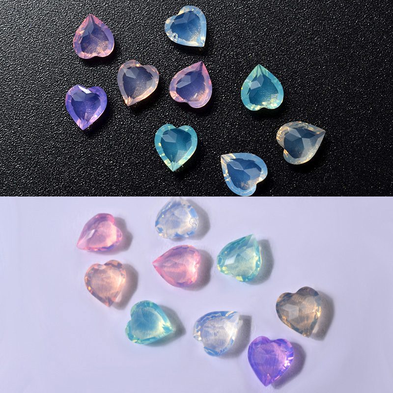 1 Box Opal Crystal Nail Rhinestone Decorations 36Pcs Heart Designs DIY Stones Charm 3D Manicure Nail Tools in Rhinestones Decorations from Beauty Health