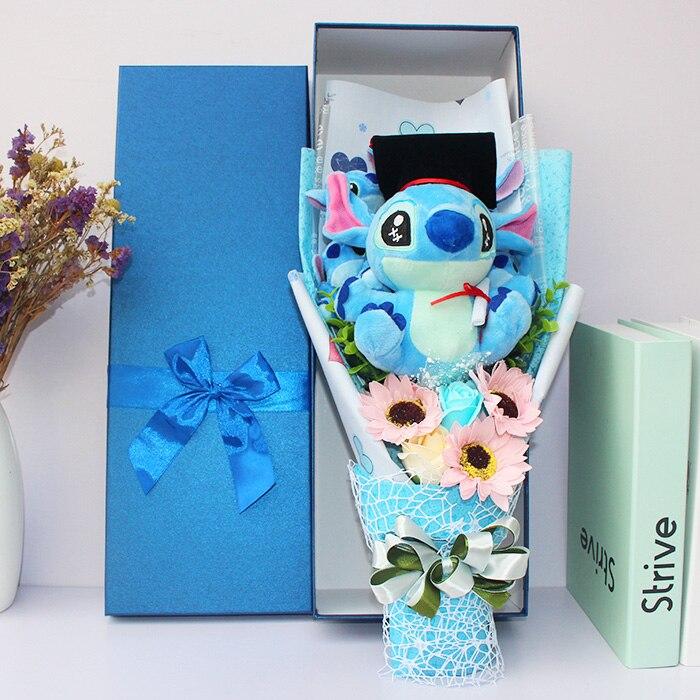Stitch Plush Toys Anime Lilo and Stitch Soft Stuffed Animal Dolls Kawaii Stich Plush bouquet gift box For Kids graduation Gift стоимость