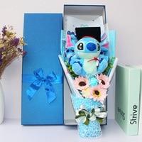 Stitch Plush Toys Anime Lilo and Stitch Soft Stuffed Animal Dolls Kawaii Stich Plush bouquet gift box For Kids graduation Gift