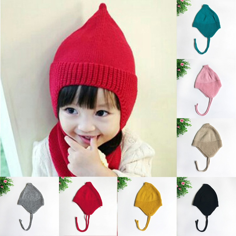 Infant Baby Girl Cap Knitted Crochet Beanie Hat Boys Winter Snow Hats Warm  Earflap Earmuffs Toddle Kids Caps 0-3 Years 26cfb7bb0c8