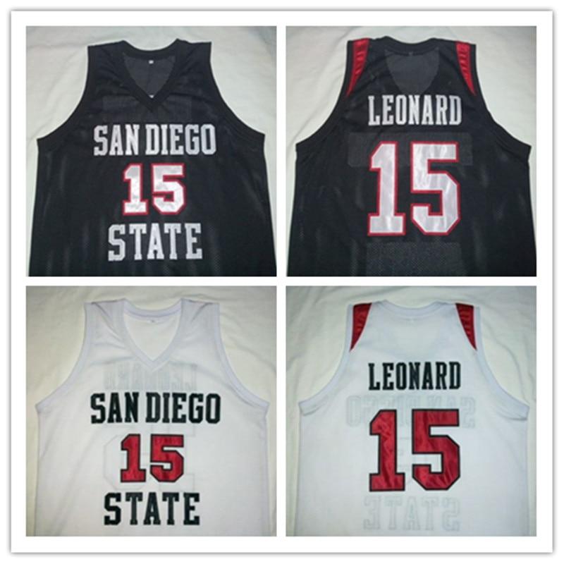 Prix pour KAWHI LEONARD San Diego State Noir BLANC Basket-Ball Jersey Broderie Piqué Personnaliser n'importe quelle taille et nom