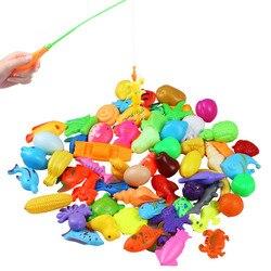 32 pz/lotto Magnetico Giocattolo di Pesca Asta Al Netto Set per I Bambini Bambino Modello Gioca Giochi di Pesca Giocattoli All'aria Aperta (30 di Pesce + 2 asta)