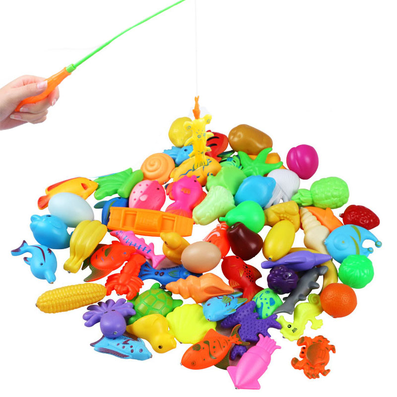32pcs/lot Magnetic Fishing Toy Rod Net Set For Kids Child Model Play Fishing Games Outdoor Toys (30 Fish+2 Rod)
