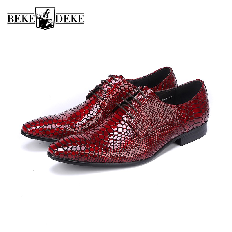 Classic Snake Lace Up Men Dress Shoes Genuine Leather Red Black Formal Office Business Man Suit Footwear Party Sapato Masculino 2017 classic polka dot lace up men brogue dress shoes genuine leather brown black formal office business man suit shoe e71815 21 page 9