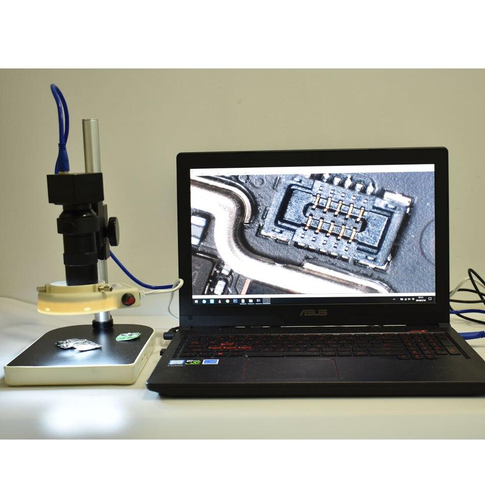 HD 5.0MP USB 3.0 lecteur gratuit Microscope USB caméra de mesure + 8X-130X grossissement réglable 25mm Zoom c-mount objectif + LED + support
