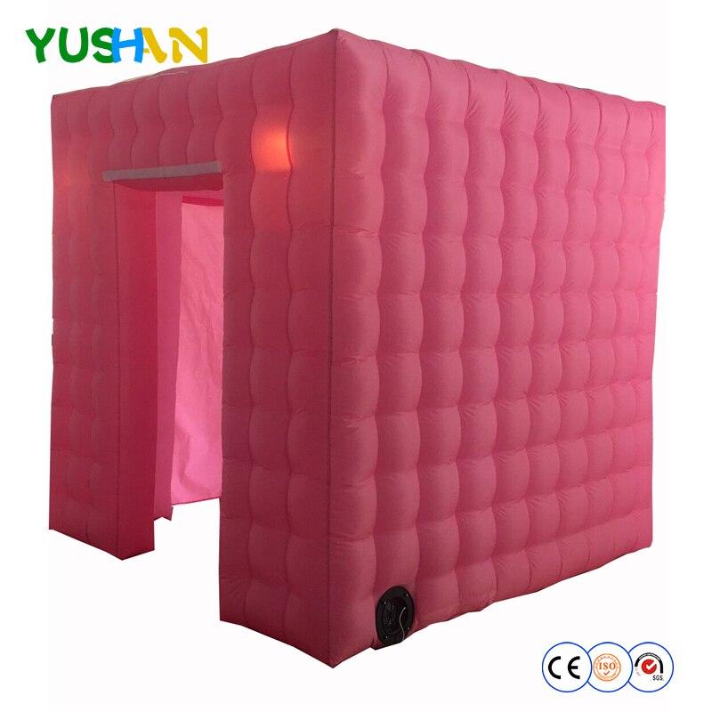 Stand de Photo gonflable incroyable rose personnalisé tente LED lumières fonds de cabine de Photo en plein Air cabine de photo armoire nouveauté