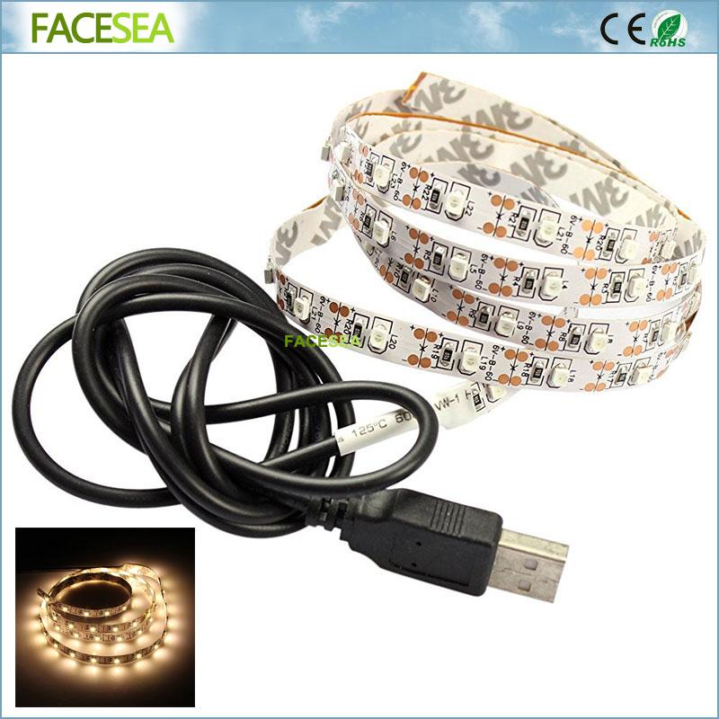 50 см 1 м 2 м USB светодиодные полосы 60leds 3528 DC 5 В не Водонепроницаемый Гибкая теплый whitetv /компьютер полосы света