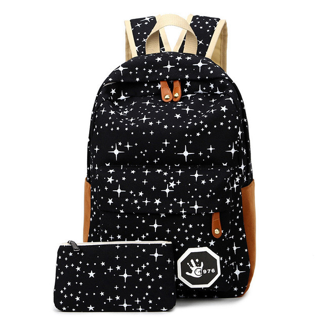 Fashion Star Women Canvas Backpack Schoolbags School For Girl Teenagers Casual Travel Bags Rucksack Cute Printing
