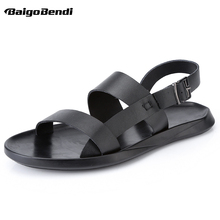 EUR Size 38-45 REAL Leather Mens Buckle Strap Sandals Summer Beach Casual Shoes Man Outdoor Driving Car