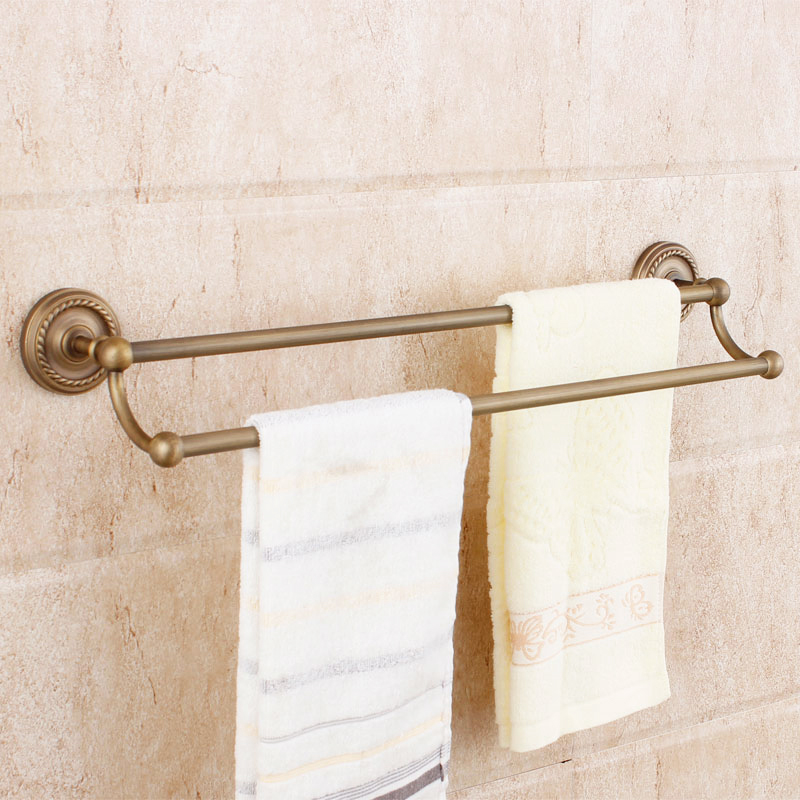 Beelee BA6102A Antique Brass 22 Inch Towel Bar Double Wall Mounted Bathroom Towel Bars antique brass bathroom wall mounted double towel bar holders cba093