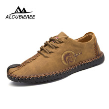 Купить с кэшбэком 2018 New Comfortable Big size 38-48 Casual Shoes Loafers Men Shoes Quality Split Leather Shoes Men Flats Moccasins Shoes