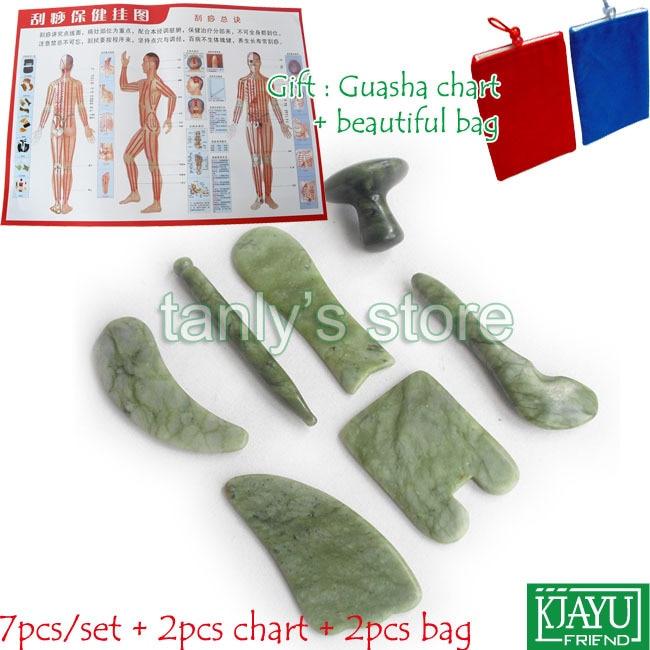 Natural Glaze Jade Massage Tool Guasha Beauty Board (square+fish+triangle+moon+pen+spoon+mushroom shape) 7pcs/set