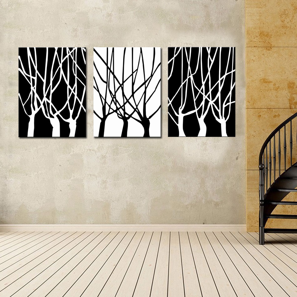 3 Picture Combination Black And White Trees Picture Wall Art Home  Decoration Large Modern Hanging Art Abstract Painting In Painting U0026  Calligraphy From Home ...
