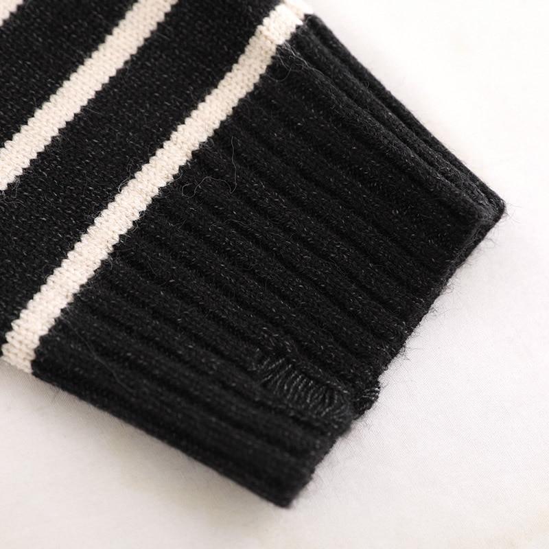 Coreano Modo 2018 Maniche Kint Maglione Alta Cotone Pullover Plus Delle Inverno Strisce Donne A Grigio Di Autunno Lunghe coffee dgray Black Size Casual Qualità OqnCwIaTC