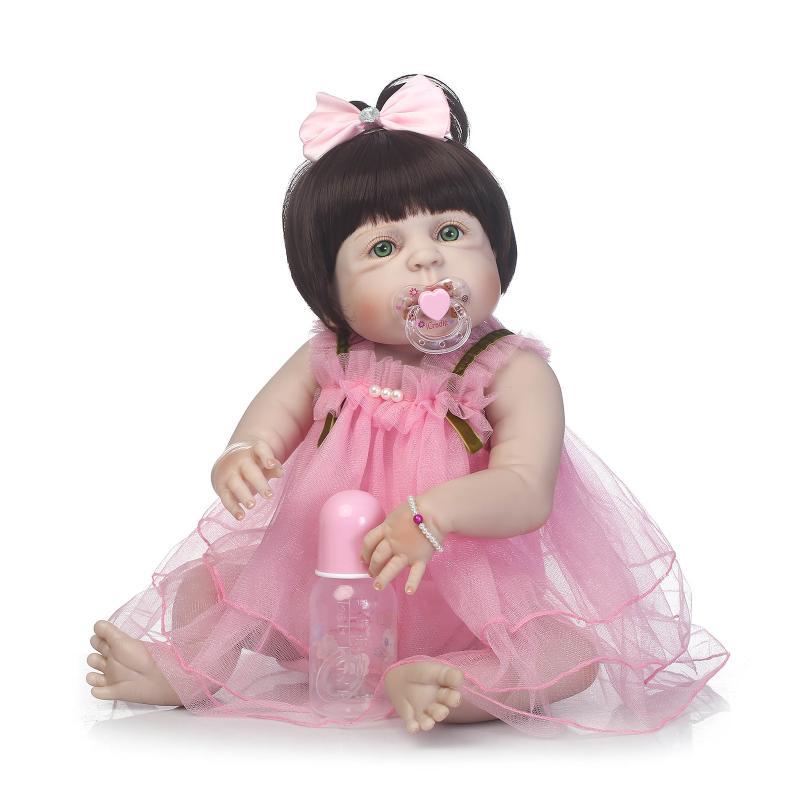 Silicone reborn bébé poupées filles 57 cm rose robe avec bleu vert marron yeux ouvrir russe poupée jouets pour enfant brinquedos anniversaire