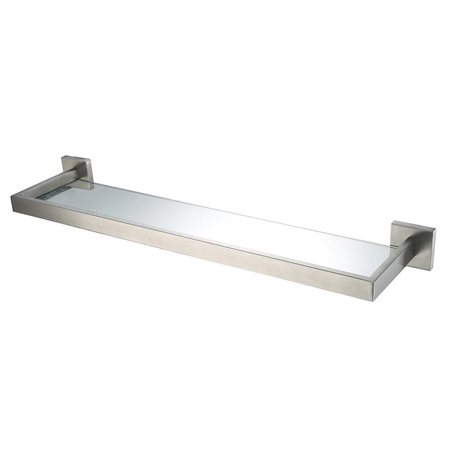Auswind Modern Stainless Steel Silver Brushed Nickel Bathroom Shelf With Gl Wall Mounted Accessories Hj9