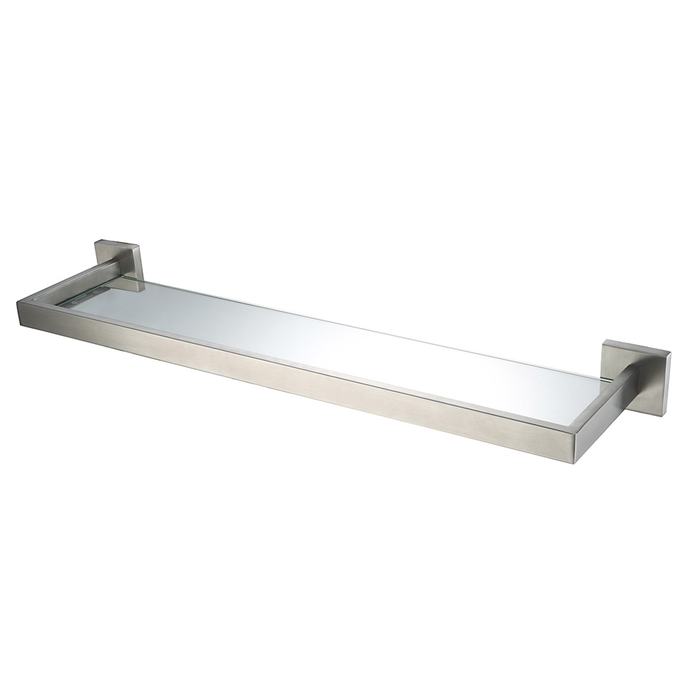 Stainless bathroom accessories - Auswind Modern Stainless Steel Silver Brushed Nickel Bathroom Shelf With Glass Wall Mounted Bathroom Accessories Hj9