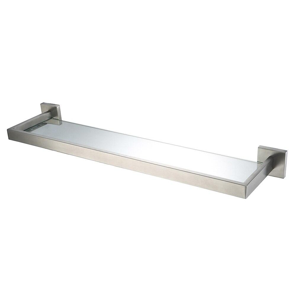 Brushed nickel bathroom shelves - Auswind Modern Stainless Steel Silver Brushed Nickel Bathroom Shelf With Glass Wall Mounted Bathroom Accessories Hj9