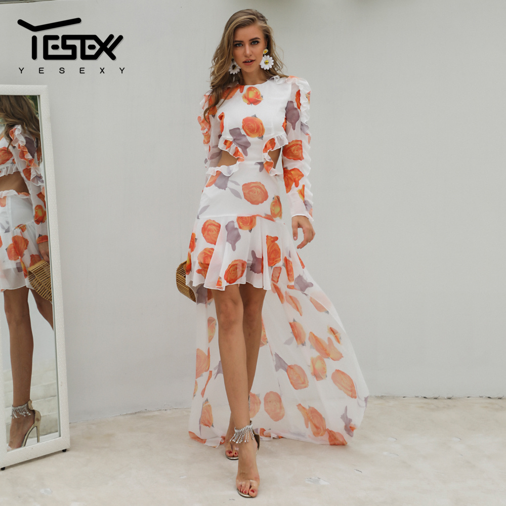 Yesexy 2020 Summer O Neck Ruffles Flowers Print <font><b>Backless</b></font> Women <font><b>Dress</b></font> Full Sleeve Floor Length Beach <font><b>Sexy</b></font> Female <font><b>Dress</b></font> VR1052 image