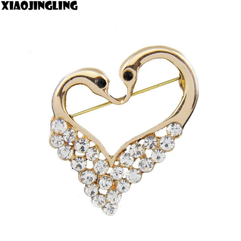 3486db522726 Xiaojingling encanto popular alta calidad claro rhinestone oro plateado  doble Cisne Boda nupcial broche pin joyas