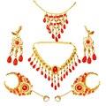 Acessórios colar de jóias dança do ventre dança indiana 2 pcs brincos + 2 pcs pulseira + colar + acessório de cabelo