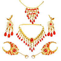 Belly Dance Necklace Jewelry Accessories Indian Dance 2pcs Earrings 2pcs Bracelet Necklace Hair Accessory