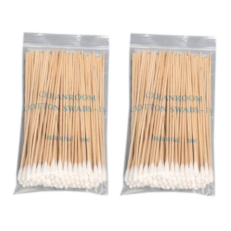 200Pcs/Bag 15CM Long Wooden Handle Cotton Swab Single-Head Q-Tips Ear Nose Cleaning Sterile Sticks Makeup Applicator Remove Tool