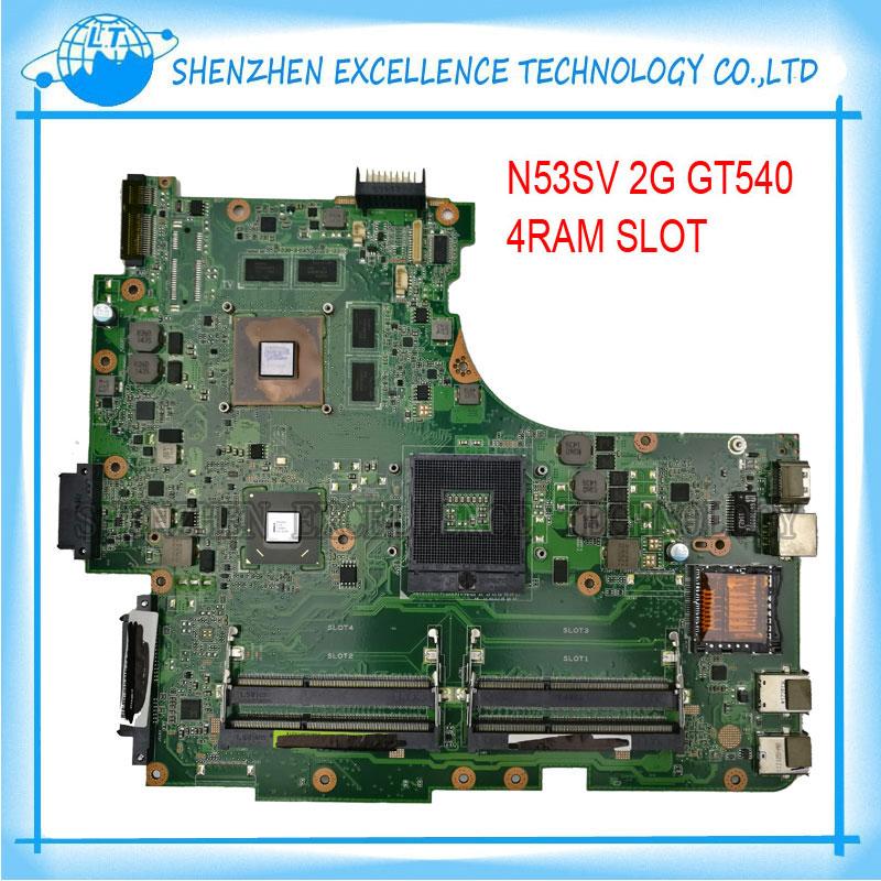 Prix pour D'origine n53sv carte mère pour asus n53s n53sn n53sm avec 4 slot de ram gt540m 2 gb mainboard test complet