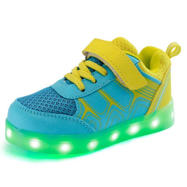 أحذية الأطفال مع ضوء LED مضيئة أحذية أطفال USB شحن متوهجة تضيء عارضة الرياضة الفتيان الفتيات أحذية رياضية 25-37 يورو
