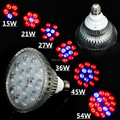 E27 15W/21W/27W/36W/45W/54W AC85-265V Red+Blue High Power Led Plant Grow Light  for Hydroponic Led System
