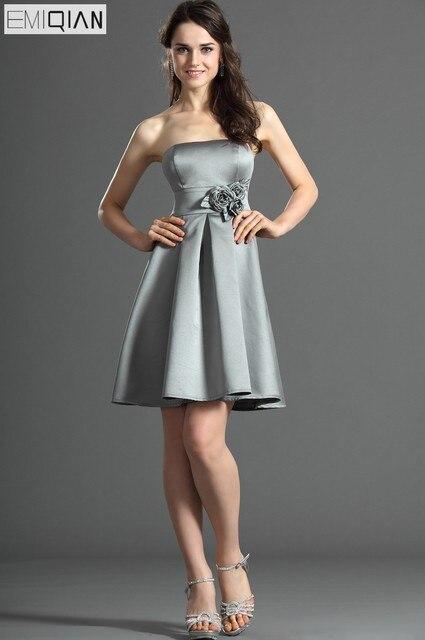 Tailored Strapless A Line Formal Wedding Party Dress Short Gray Satin  Bridesmaid Dress 2c8d31e5f5cc