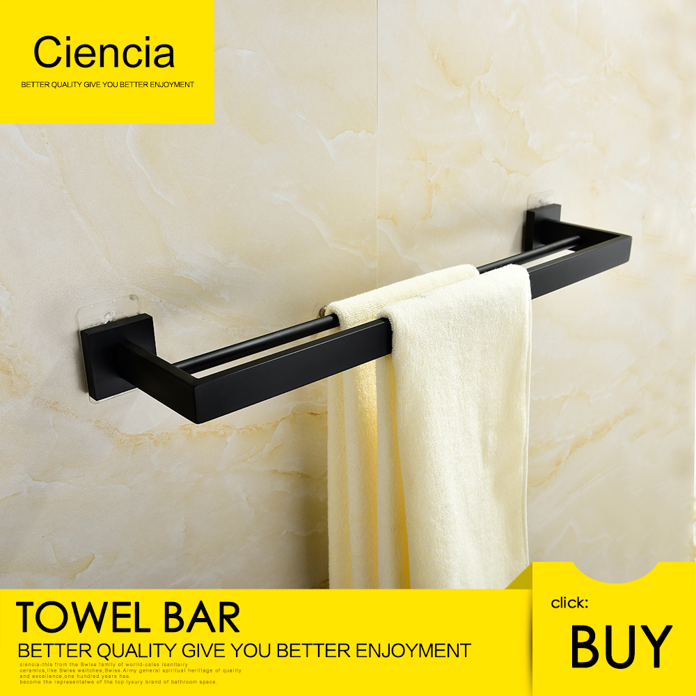 Free shipping SUS304 stainless steel balack seamless self adhesive double & single towel bar towel rail towel hanger bathroom sus304 stainless steel mirror 60cm single towel bar towel rail holder stainless steel construction sm020 water sa