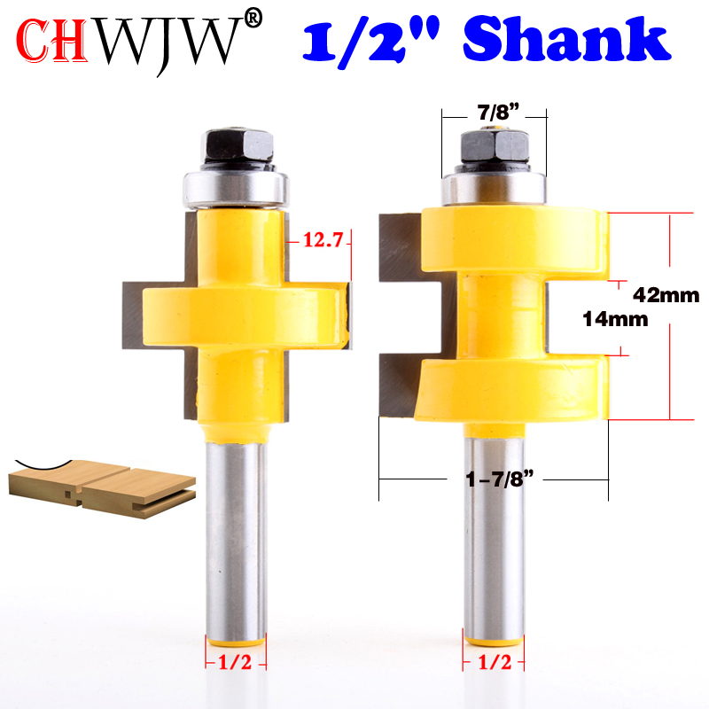 """2pc 1/2"""" Shank high quality Large Tongue & Groove Joint Assembly Router Bit Set 42mm Stock Wood Cutting Tool - Chwjw"""