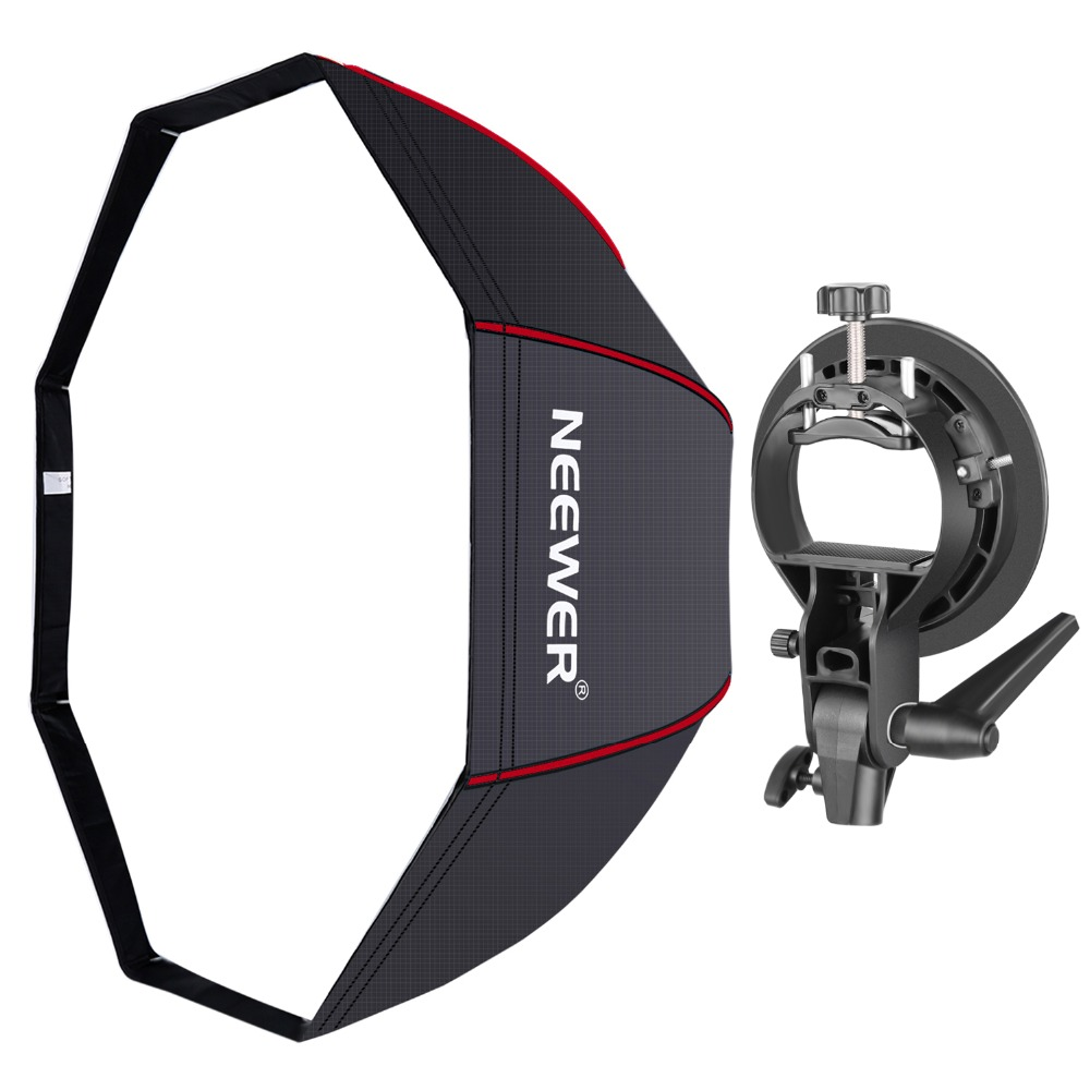 Neewer 48 Inches/120 Cm Octagonal Softbox With Red Edges, S-Type Bracket Holder (with Bowens Mount) And Carrying Bag