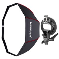 Neewer 48 inches/120 cm Octagonal Softbox with Red Edges, S Type Bracket Holder (with Bowens Mount) and Carrying Bag