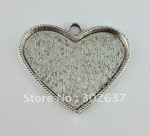 X3 Marco Bisel de configuración de cabujón de corazón-base de corazón Colgante-Tono Plata Antigua