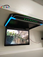 RoverOne 14'' 12v All In One LED HDMI Car Ceiling Player Flip Down Bus Monitor Coach Ceiling Mount Overhead Entertainment System