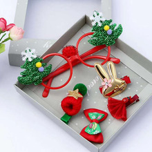 MIARA.L Christmas headdress jewelry box set Cartoon head band rope clip glasses Childrens decoration gifts