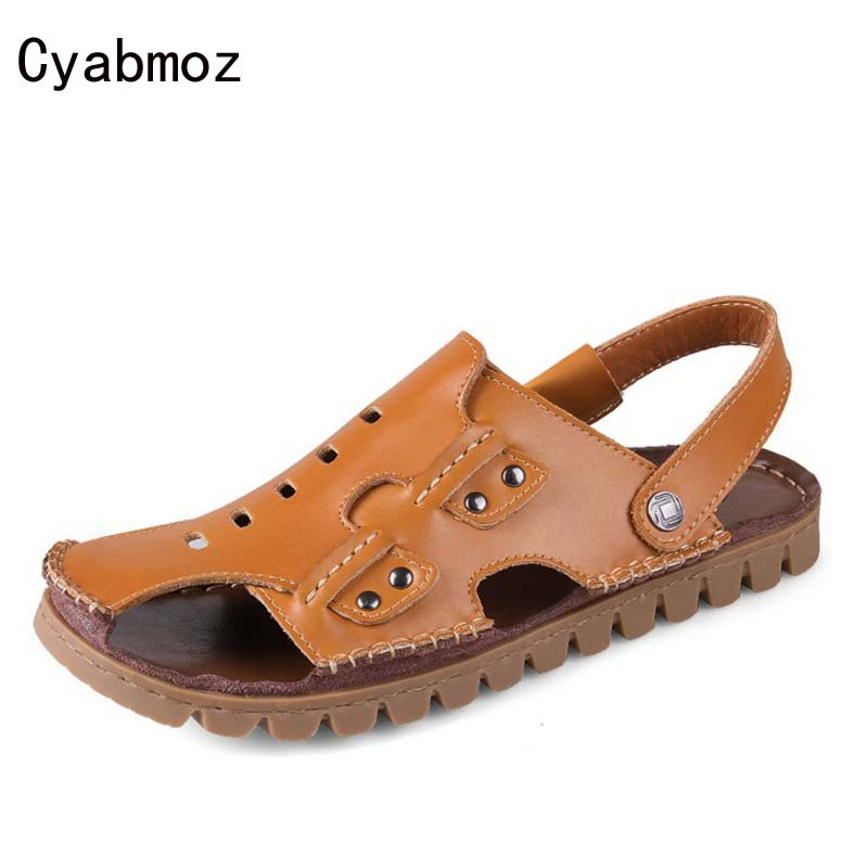 Cyabmoz New Arrival Closed Toe Beach Sandals for Men Handmade Genuine Leather Summer Shoes Male Retro Sewing Classics Slippers