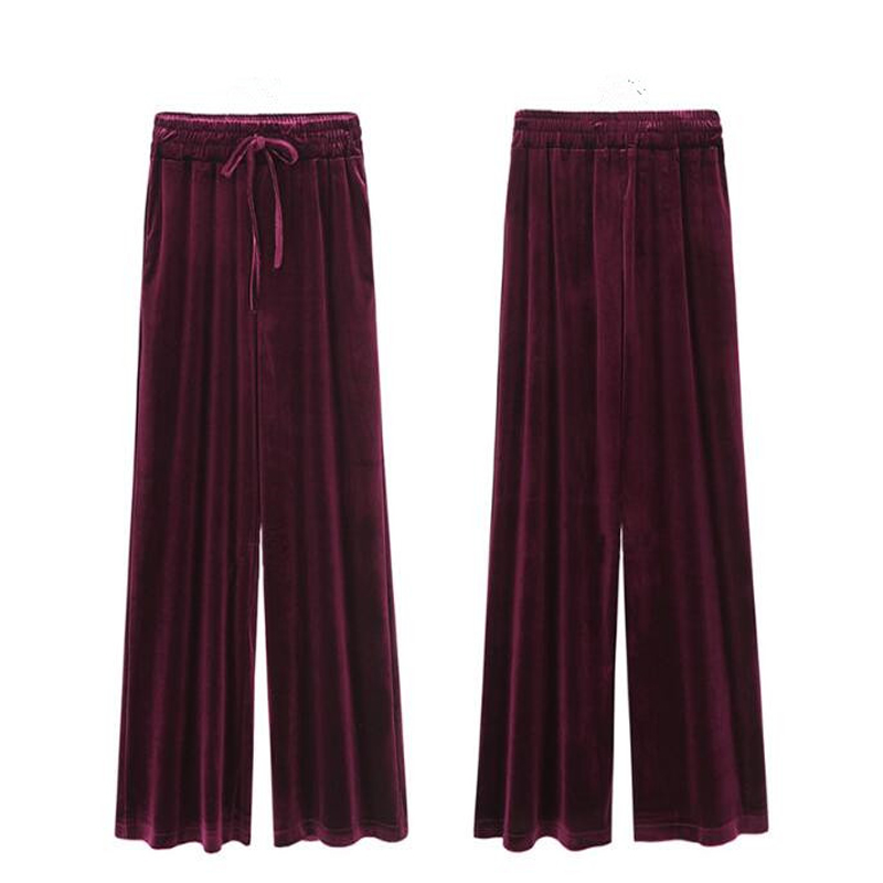 Bottoms Bright Babbytoro Pants Women 2019 Lady Gold Velvet Wide Leg Loose Pants Female High Waist Plus Size 6xl 5xl M Wine Red Black Navy Women's Clothing