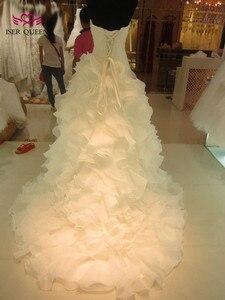 Image 3 - Vestidos de novia de sirena con volantes Falda plisada vestido de novia de sirena blanco puro 2020 vestido de novia de marca Africana W0153