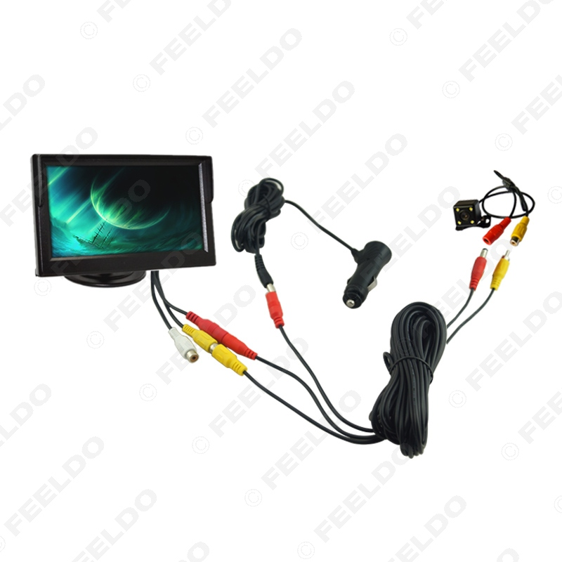Car Cigarette Lighter Power RCA Video Cable 5 Stand-alone Monitor 4-LED Rear View Camera Kits Fast Quick Install #FD-2218
