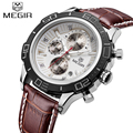 Top Brand Megir Mens Chronograph Luminous Quartz Watches Fashon Men Leather Strap Waterproof Sport Wrist watch Relogio Masculino