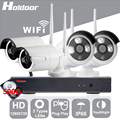 Holdoor 4CH WiFi Wireless Security System 500GB 720P Network Camera Wireless Wire IP Camera Waterproof IP66 IR LEDs for Home