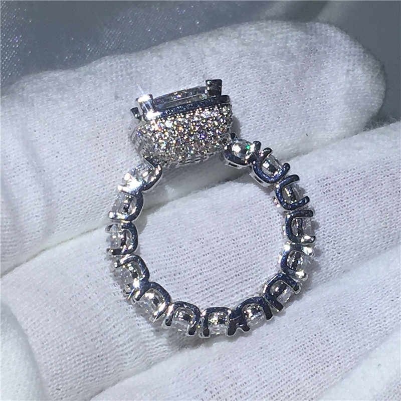 choucong Vintage Female ring Full Pave setting 5A zircon crystal 925 silver Engagement Wedding Band Rings For Women Gift