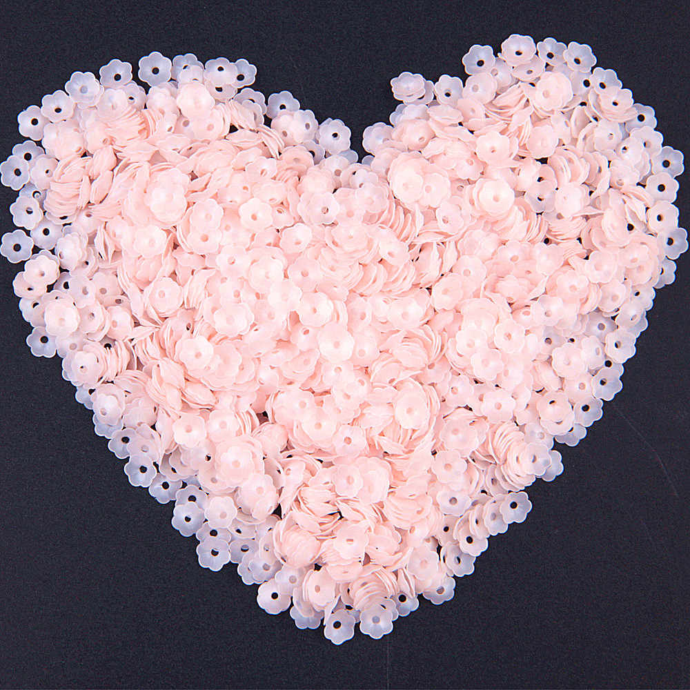 Matte Pink Flower Sequins 6mm Loose Lentejuelas for Needlework Craft Sewing PVC Paillettes Fittings for Costume Jewelery 20g
