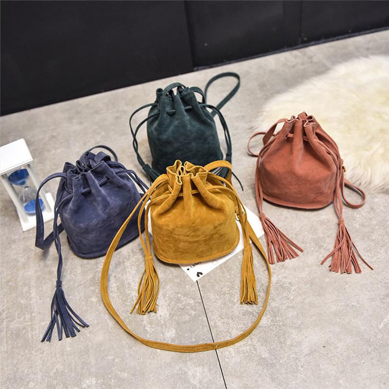 FangNymph Vintage Fashion Small Women Bucket font b Bags b font Female Suede Pu Tassel Shoulder