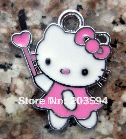 100Pcs/Lots Zinc Alloy Metal kT with magic wand with a little heart ' Charms 23*19mm