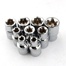 """9pcs 1/2"""" drive E10 E11 E12 E14 E16 E18 E20 E22 E24 e type torx star bit socket set hand repair tools"""